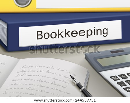 bookkeeping binders isolated on the office table - stock photo