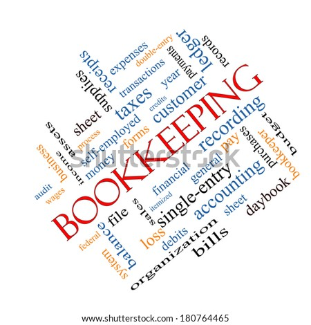 Bookkeeping Word Cloud Concept angled with great terms such as financial, records, ledger and more. - stock photo