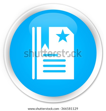 Bookmark icon cyan blue glossy round button - stock photo