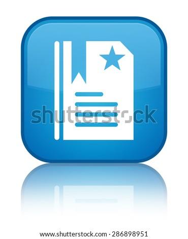 Bookmark icon cyan blue square button - stock photo