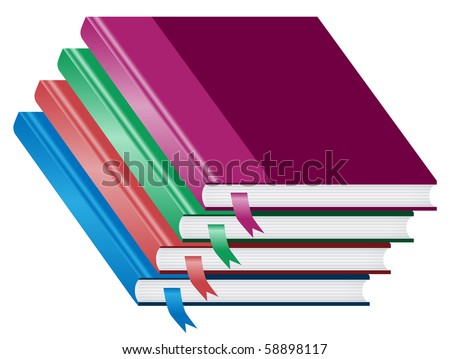 Books, a stack or pile of four closed books with bookmarks in different colors. Isolated on white. Vector also available. - stock photo