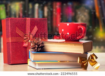 Books and a cup of Christmas Style - stock photo