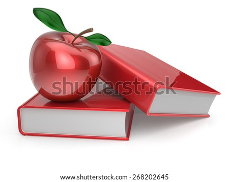 Books and apple red education health reading textbook learning examination erudition teaching concept. 3d render isolated on white - stock photo