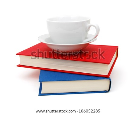 Books and Coffee Mug Isolated on White