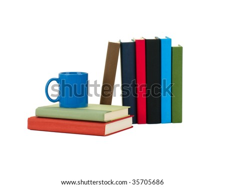 Books and Coffee Mug Isolated on White - stock photo