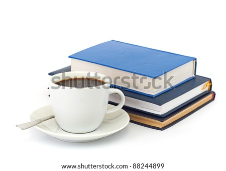 books and cup of coffee isolated on a white background - stock photo