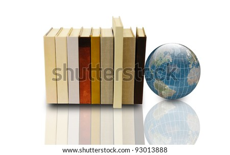 books and 3d earth globe - stock photo