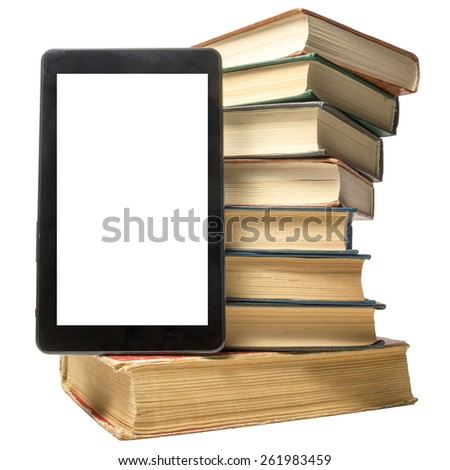 Books and electronic book reader. Electronic library concept. Copy space - stock photo