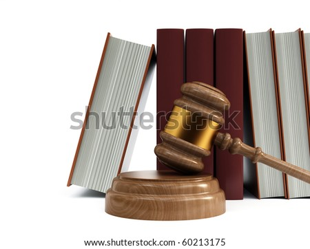 books and gavel - stock photo
