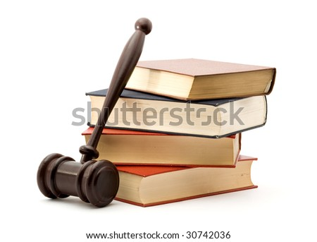 books and gavel studio isolated over white - stock photo