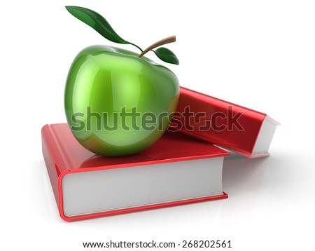 Books and green apple education health reading textbook learning examination concept. 3d render isolated on white - stock photo