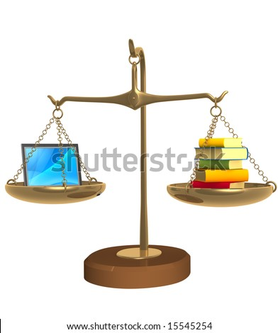 Books and laptop on bowls scales - stock photo