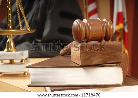 Books and legal research in the courthouse - stock photo