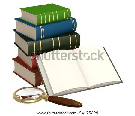Books and loupe - stock photo