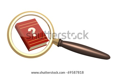 Books and loupe. Objects isolated over white - stock photo