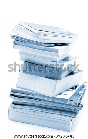Books and magazines in blue toned - stock photo