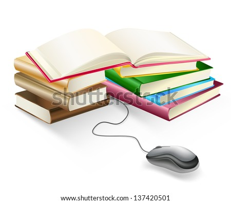 books and mouse e-learning - stock photo