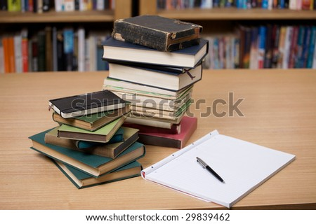 Books and notes - stock photo