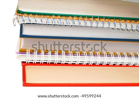 books and notes on white background - stock photo