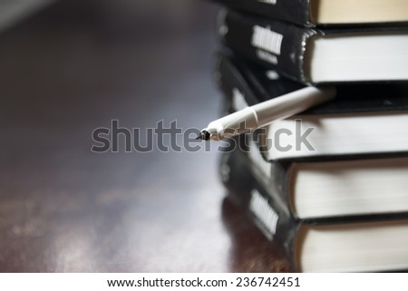 books and pen, concept education, study - stock photo