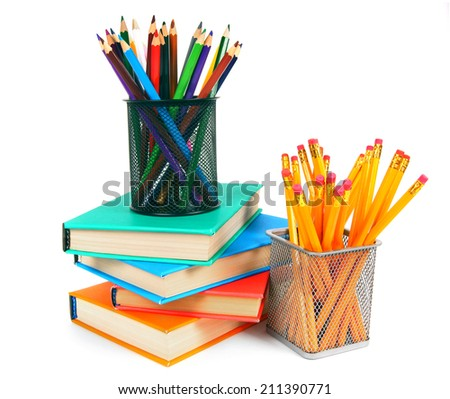Books and pencils. On a white background. - stock photo