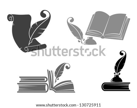 Books and quills icons for education design. Vector version also available in gallery - stock photo