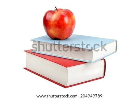 books and red apple isolated on white background - stock photo