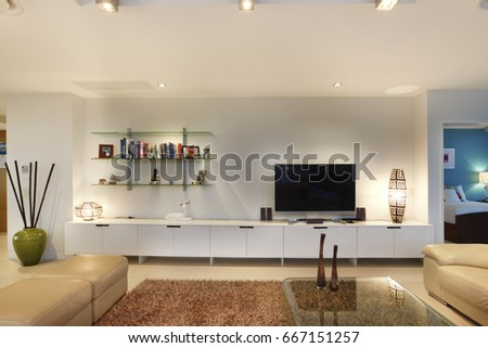 Books Television Living Room Comfortable Furniture Stock Photo