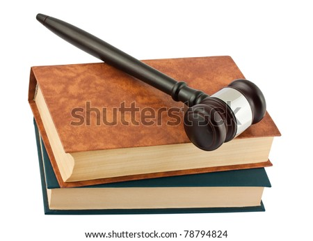 books and wooden gavel isolated on white background - stock photo
