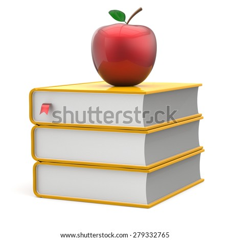 Books apple yellow red index textbooks stack education studying reading learning school college knowledge literature idea icon concept. 3d render isolated on white - stock photo