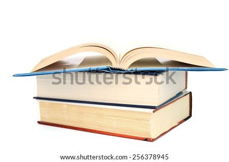 Books are opening on a white background, isolated. - stock photo