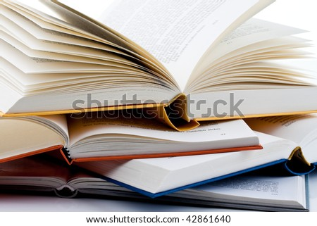 Books are set up on a white background