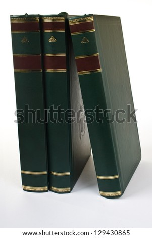 books arranged vertically - stock photo