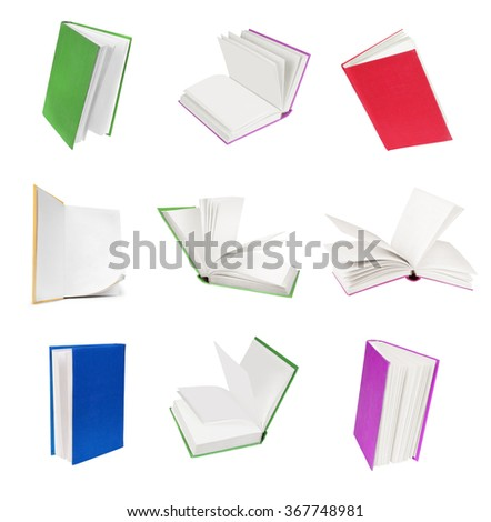 books collection isolated on white