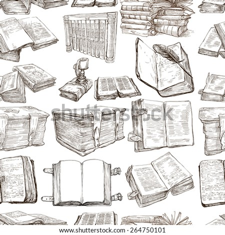 BOOKS - Collection of an hand drawn illustrations (Seamless freehand sketches). Full sized hand drawn illustrations, Originals. Drawing on white background. - stock photo