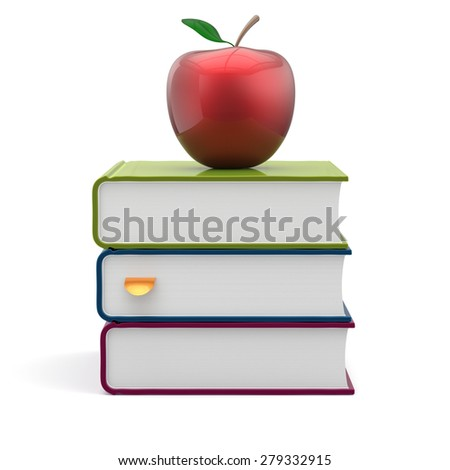 Books colorful blank stack red apple textbooks education studying reading learning school college knowledge literature idea wisdom icon concept. 3d render isolated on white - stock photo
