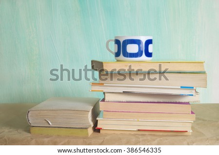 books, cup of coffee, education, learning , reading concept - stock photo