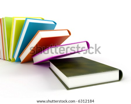 Books 3d illustration isolated on white. Books background. Books wallpaper. Back to school books. Education, university, college symbol or knowledge, books 3d page. Books stack. Books coloreful image - stock photo