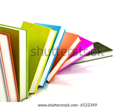 Books 3d illustration isolated on white. Books background. Books wallpaper. Back to school books. Education, university, college symbol or knowledge, books 3d page. Books stack. Books coloreful image