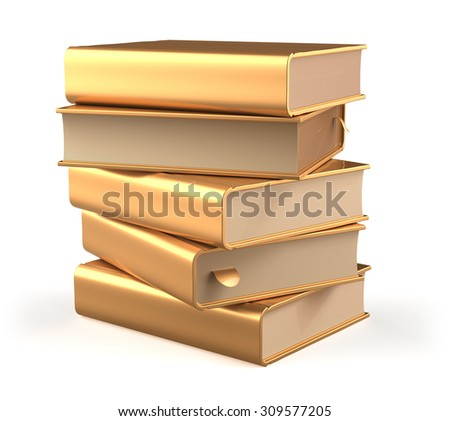 Books five textbook stack of book covers gold yellow blank bookmarks golden. School library studying information content learn question answer icon concept. 3d render isolated on white background - stock photo