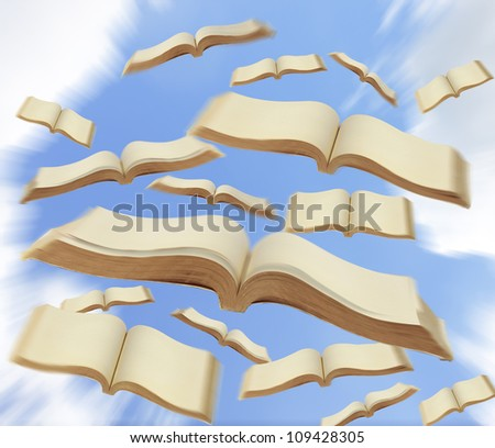 Books fly to the sky - stock photo