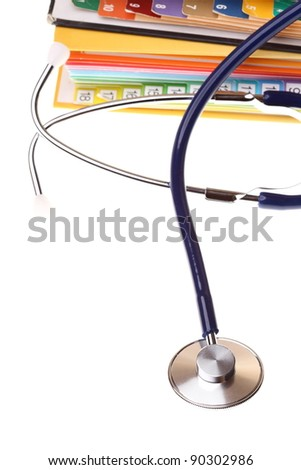 books folder file and stethoscop isolated on white background - stock photo