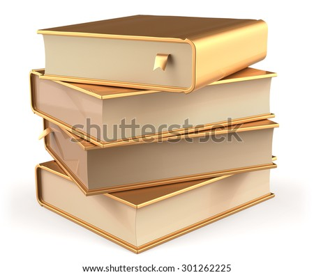 Books golden four 4 textbook stack blank yellow gold and bookmark. School studying information content learn icon luxury concept. 3d render isolated on white background - stock photo