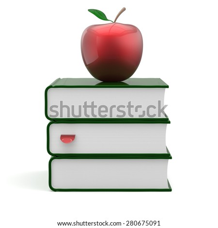 Books green apple red index blank textbooks stack education studying reading learning school college knowledge literature idea icon concept. 3d render isolated on white - stock photo