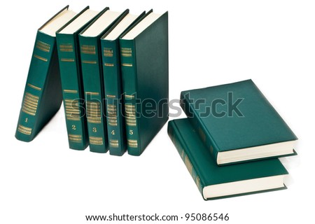 Books in a row, all hardbacks some with leather covers. Isolated on white with slight shadow - stock photo