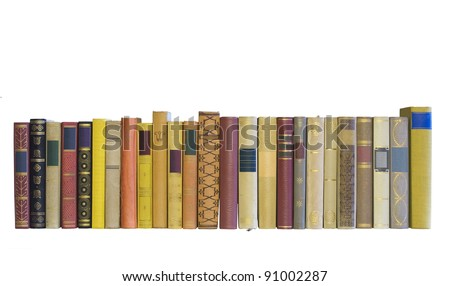 books in a row, isolated, blank labels, free copy space - stock photo