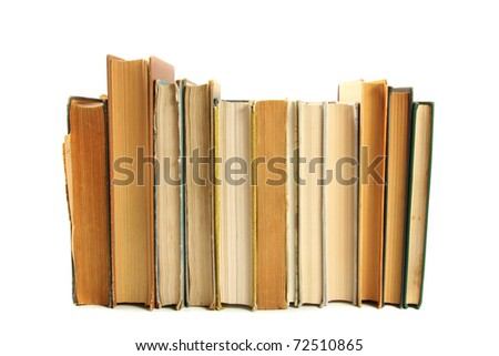 books in a row isolated on white - stock photo