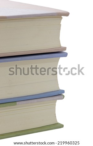 Books in a row isolated on white background - stock photo