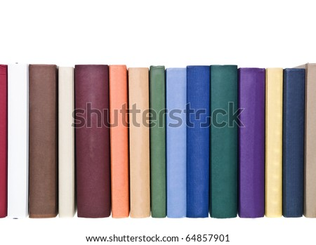 Books in a row isolated on white background