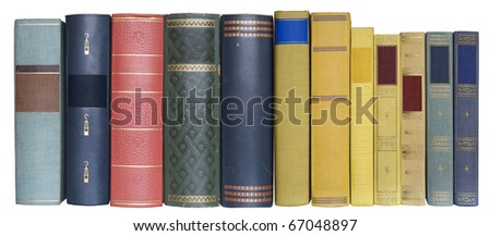 books in a row, isolated on white background,blank labels with free copy space - stock photo
